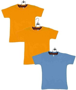 Pack of 3 Yellow & Blue Cotton Boys T-shirts
