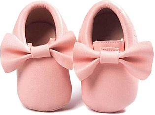 Biege New Born Baby Bow Knot Shoes