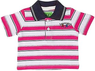 Pink & White Jersey Polo Shirt For Boys