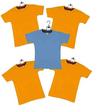 Pack of 5  Cotton T-shirts Boys Yellow & Blue