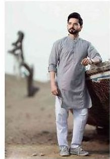 White Trouser With Grey Kurta For Mens