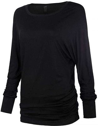O Neck Two Sides Shirring Women's Black T-Shirt