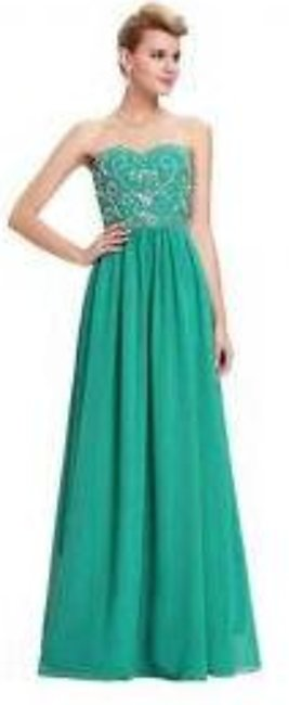 sea Green Embroidered Long Bridal Dress