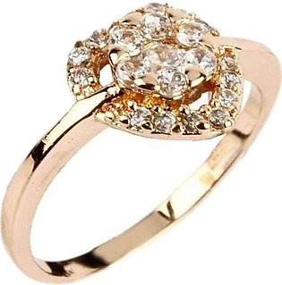 Fashion Café White Zircon 24 K Gold Plated Ring with Heart Shaped Design & Fl...