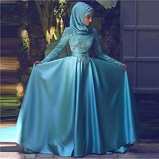 Long Sleeve Formal Gown Blue Maxi