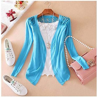 Women's Blue Lace Crochet Knit Blouse Top Coat Sweater