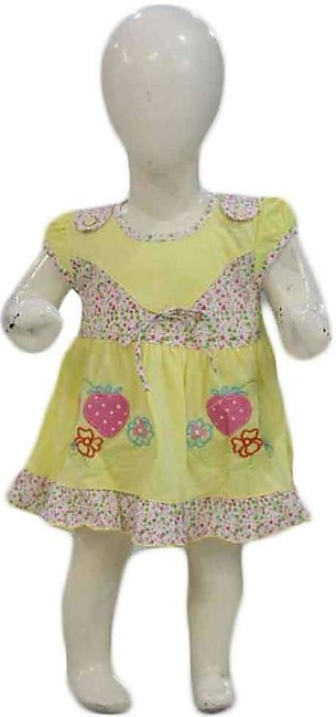 Baby Yellow Strawberry Embroidered Frock