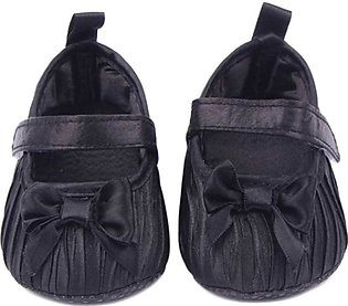 Black Leather Bow Knot Baby Shoes