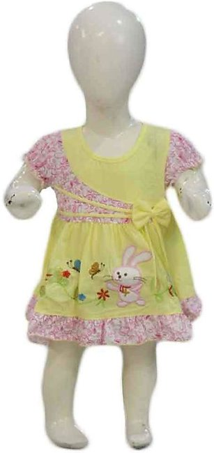 Baby Yellow & Pink Embroidered Frock