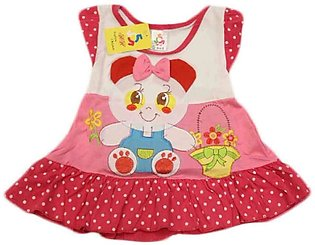 Baby Cartoon Printed Red & Pink Frock