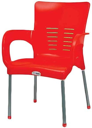 Steel Plastic Chair Red