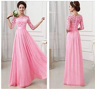 Formal Long Pink Bridesmaid Gown Maxi