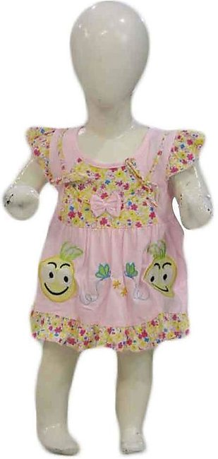 Baby Pink & Yellow Embroidered Frock