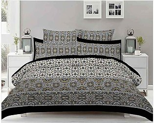 Grey Double Bed Sheets With 2 Pilow Cover