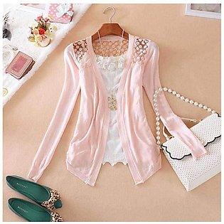 Women's Pink Lace Crochet Knit Blouse Top Coat Sweater