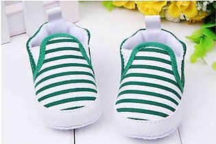 Cute Baby Green Stripes Shoes