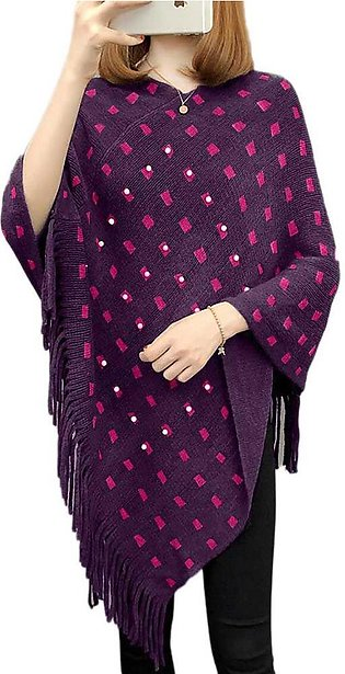 Women's Purple And Pink Cape Shawl