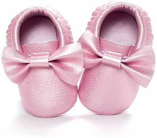 Shining Pink Bow Knot Baby Shoes