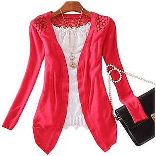 Women's Red Lace Crochet Knit Blouse Top Coat Sweater