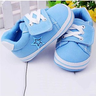 Sky Blue Lace & Strap Baby Shoes