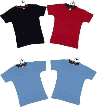 Multicolor Boys Cotton T-shirts Pack of 4