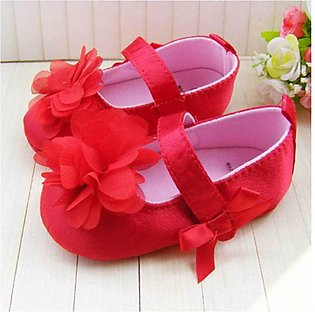 Red New Born Baby Flower Shoes