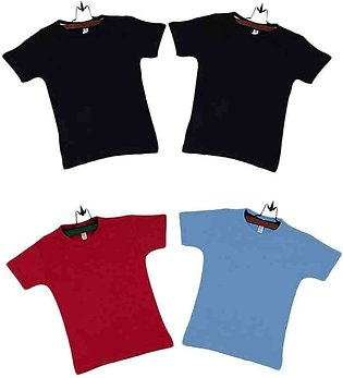 Pack of 4  Multicolor Cotton Boys T-shirts