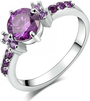 White Gold Plated Fashion Elegant Purple Crystal Wedding Engagement Ring For Wo…