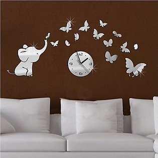 Elephant Butterflies Mirror Wall Decal Wall Clock