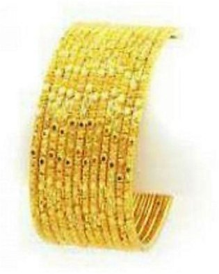 12 Gold Plated Bangles - Golden