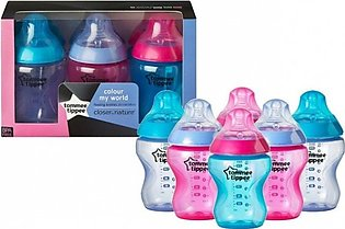 Tommee Tippee Pack of 6 - Colour My World Bottles 260ml