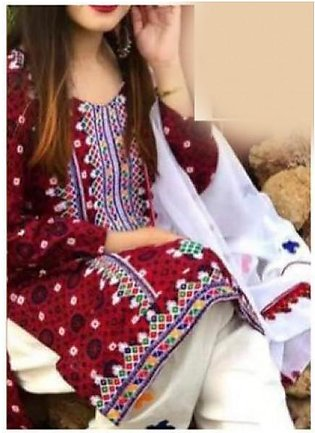 AJRAK EMBROIDERED LAWN DRESS FOR WOMENS