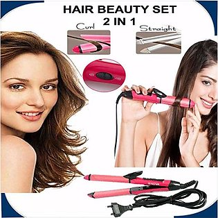 Nova 2 in 1 Hair Beauty Set Curl and Straightener