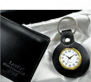Faux Leather Keychain with Watch
