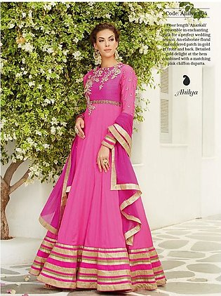 AHILYA ANARKALI FROCK PINK GOLD LONG LENGTH SILK SATIN WEDDING DRESS