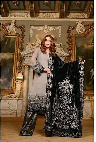 Heavy Embroidered Chiffon Dress with Velvet Embroidery Shawl in Black Color