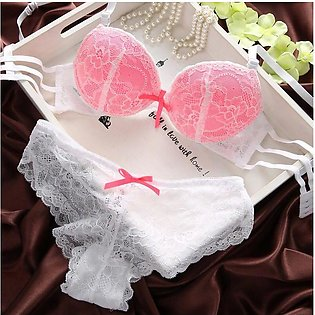 Pink Net and Lace Push Up Bra and Panty Set