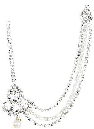 Silver Rodium Plated White Zircons & Pearl Matha Patti For Women - jh723