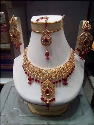 New Elegant style Bridal jewellery sets With Red stone work