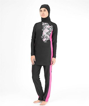 Floral Black Burkini - Islamic Swimming Suit for Women