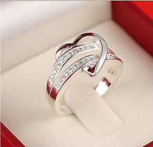 Silver Plated Bling Heart Love Women Ring