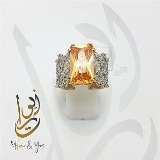 Golden Stone with Silver embellishments 925 Silver Ring for Women