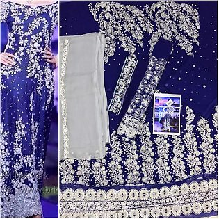 Beautifully Embroidered Blue Bridal Maxi Dress