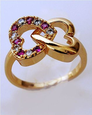 1k Gold Plated Double Heart Ring