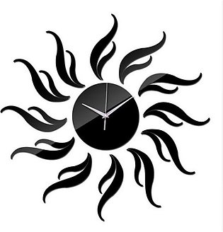 DIY 3D Acrylic Mirror Clocatch Wall Clock - Black