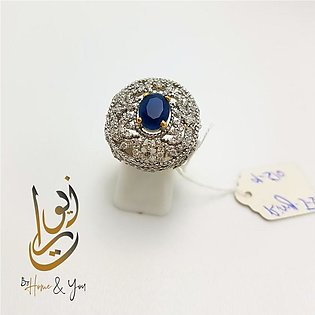 Blue stone 925 Silver Ring with Elegant jewellery box