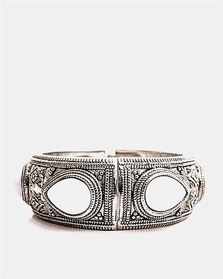 Silver Plated Traditional Coloured Bangle - White