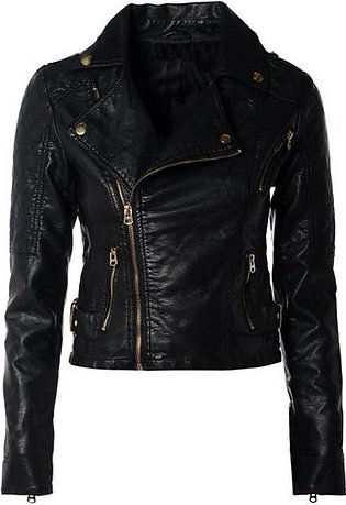 Moncler Style Short Leather Jacket For Women