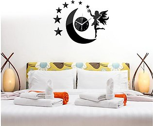 Star Moon 3D DIY Mirror Wall Clock