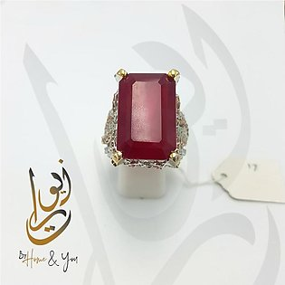 Beautiful Red Stone RIng for Women in Silver - 925